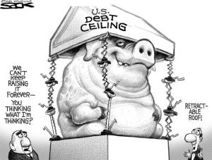 A pig hitting the debt ceiling