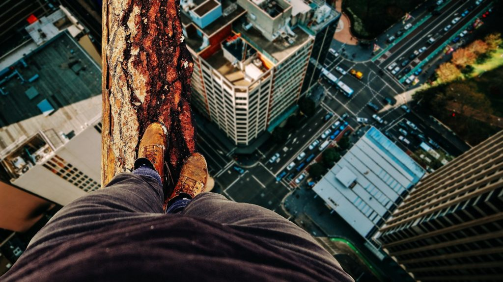 Man standing on a tree overlooking a city