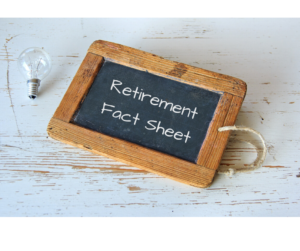 Chalkboard with Retirement Fact Sheet