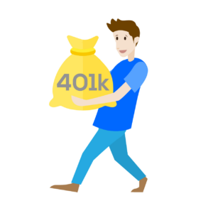 Man holding a gold bag named 401K