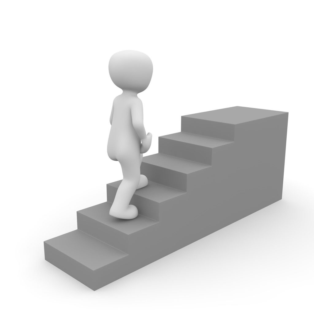 clipart walking up stairs gray white background