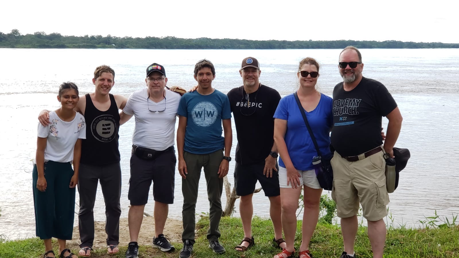 Wine to Water group on amazon river