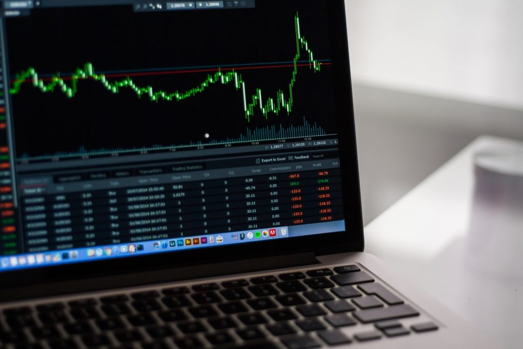 Stock Market Chart on Laptop