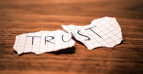 Trust written on 2 pieces of paper
