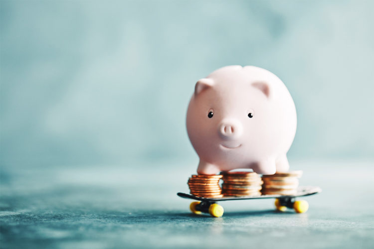 Piggy Bank money on skateboard